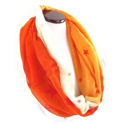 Les Trésors De Lily [J9082] - Echarpe tube / snood 'Etoiles' orange