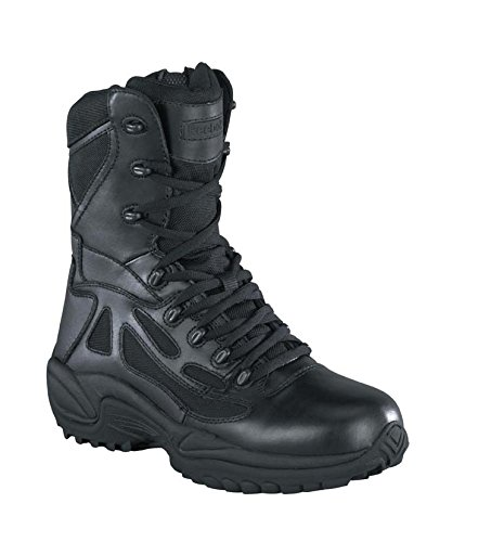 Reebok Mens Black Leather Tactical Boots Rapid Response RB Soft Toe 11 M