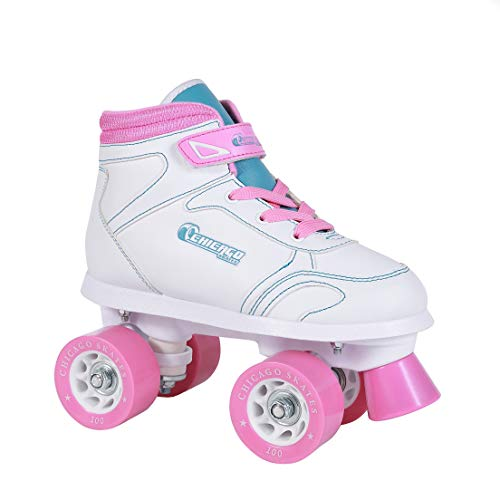 Chicago Girls Sidewalk Roller Skate - White Youth Quad Skates - Size 1 ()