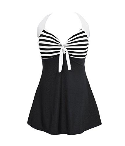 d9db2478f2ebc Bechic Women's Sailor Halter Plus Size Swimdress Vintage Striped One-piece  Swimsuit Long Torso Cover Up Bathing Suit-Black(US 12-14)