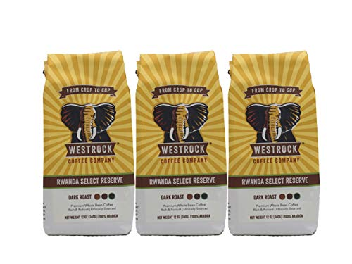 Westrock Coffee Company Rwanda Select Reserve, Dark Roast, 12-ounce Whole Bean, 3-pack