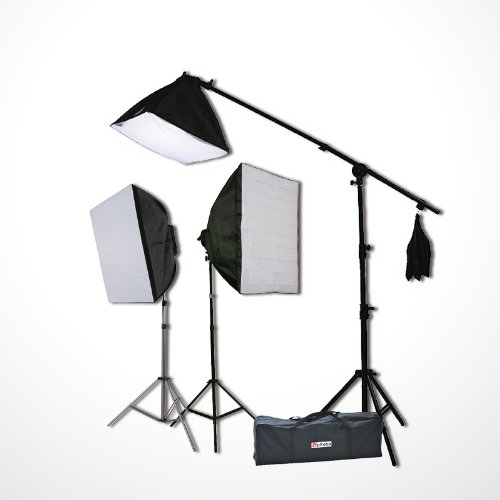 ePhoto Digital Photography Video Continuous Softbox Lighting Kit Photo Studio CFL Perfect Daylight Light Kit With BOOM STAND Hair LIGHTING KIT CARRY BAG H9060SB by ePhoto