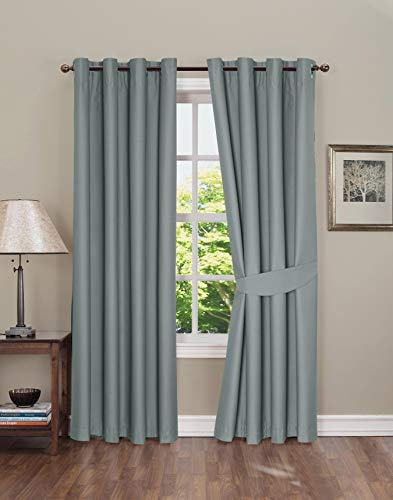 Boston Linen Co. Blackout Curtain - Thermal Insulated Grommet Window Curtain for Bedroom - 2 Panels, tie-Backs Included - Gray, 52x63 inch