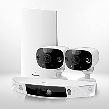 HomeHawk by PANASONIC Home Monitoring 3 Camera Kit (FRONT DOOR + 2 OUTDOOR), Super Wide Angle, Color Night Vision, Wireless, HD Recording, 2 Way Talk, Works with Amazon Alexa (KX-HN7003W)
