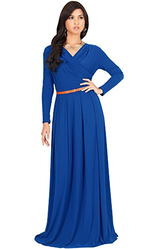 KOH KOH Womens Long V-Neck Sleeve Sleeves Fall Formal Flowy Floor Length Evening Casual Day Modest Abaya Muslim Gown Gowns Maxi Dress Dresses, Cobalt/Royal Blue L 12-14 by KOH KOH