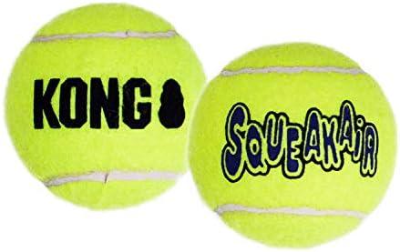 KONG – Squeakair Balls – Dog Toy Premium Squeak Tennis Balls, Gentle on Teeth (6 Pack) – For Medium Dogs