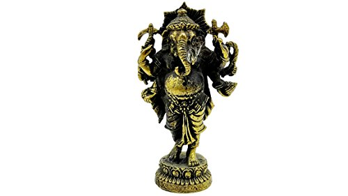 Lord ganesh god of beginning success om shri ganeshaya brass sculptures statue antique with amulet case - Pelican Table Lamp