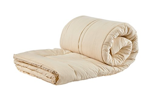 Certified Organic Wool - Sleep & Beyond 54 by 76-Inch Organic Merino Wool Mattress Topper, Full, Ivory