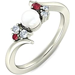 14K White Gold, 0.08 cttw Round-Cut Diamond (IJ | SI ) Ruby, White Pearl and Diamond Engagement Wedding Ring