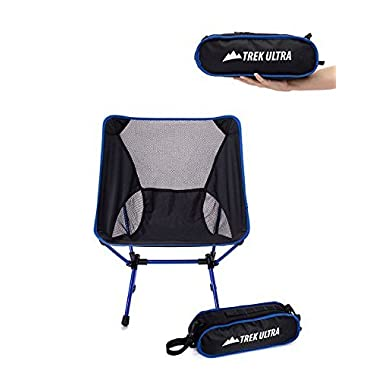 TrekUltra Tour One Lightweight Camp Chair with Removable Strap and Carry Bag, Black / Blue