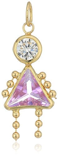 10K Gold AAA Cubic Zirconia Simulated Birthstone Babies Girl Charm, -