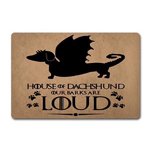 ZQH Front Door Mats House of Dachshund Doormat Funny Game of Thrones Doormats Our Barks are Loud (23.6 X 15.7 in) Non-Woven Fabric Top with a Anti-Slip Rubber Back Door Rugs Hello Doormats (Door Dachshund Mat)