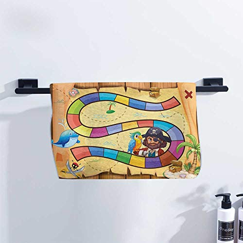 Fakgod Kids Activity Towel Treasure Hunt in The Adventure of The Pirate Cove Cartoon Drawing Style Quick Drying and Highly Absorbent W27 x L12 - Pirates Hamper Cove