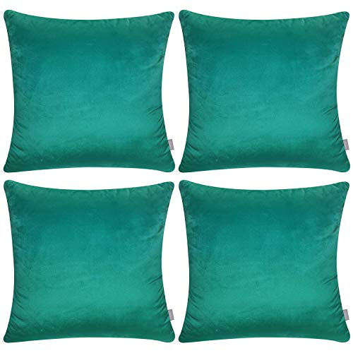4 Pack Soft Velvet Cushion Covers,Comfortable Decorative Square Throw Pillow Covers for Sofa Bedroom Couch 18 x 18 Inch 45 x 45 cm(Cover Only,No Insert) (Dark Green) (Pillow Mauve Velvet)