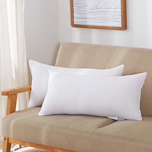 Acanva Throw Pillow Inserts Soft Couch Stuffer Hypoallergenic Polyester Square Form Washable Cushion Euro Sham Filler, 12x20-2P, White, 2 Pack (Rectangular Pillows)