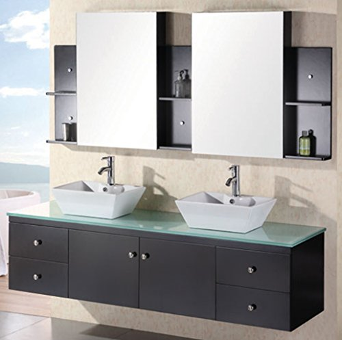 (Design Element Portland Wall-Mount Double Vessel Square Ceramic Sink Vanity Set with Tempered Glass Countertop and Espresso Finish, 72-Inch)