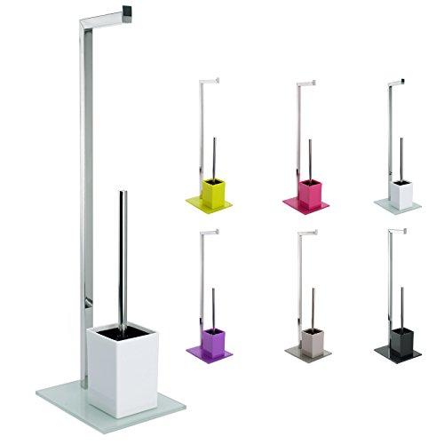Toilettenbürstenständer Toilettenbürste Rollenhalter WC Garnitur Toilettenpapierhalter mit Glas Standfuß (Weiß)