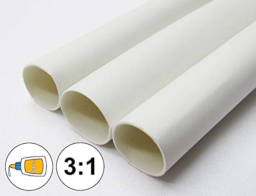 OutletBestSelling Wire Conduit (1 Foot) 3/16'' White Heat Shrink Tube 3:1 Dual Wall Adhesive Glue Line Marine