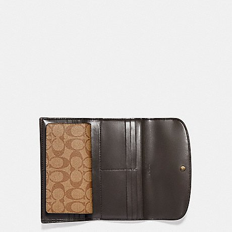Coach Pebbled Leather Checkbook Wallet Clutch F57319 Khaki Platinum by Coach