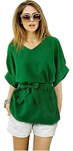 ARJOSA Women's V-Neck Batwing Sleeve Bowknot Cotton Linen Blouse Tops (S, Green)