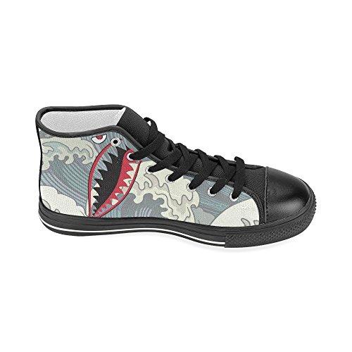 D-story Custom Banana Pattern Con Denti Di Squalo Womens Classic High Top Scarpe Di Tela Fashion Sneaker Shark3