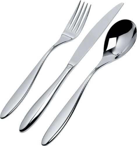 Alessi | Mami SG38S24M - Design Flatware Set in 18/10 Stainless Steel Mirror Polished, 24 Pieces (Mirrors Ornamental)
