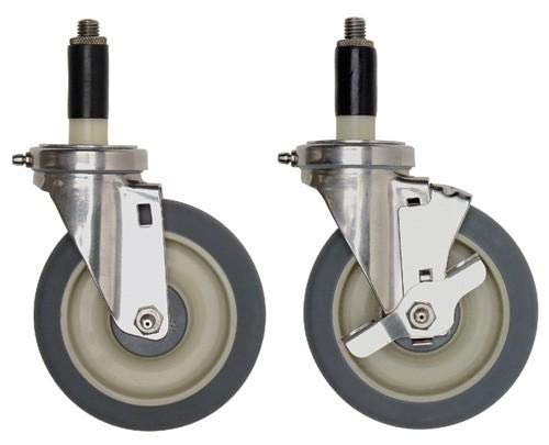 Quantum Mobile Kit Stem Casters, NSF for Shelving Unit, Stainless by Quantum Food Service