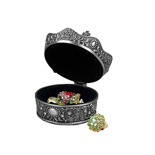 AVESON Creative Vintage Metal Alloy Crown Design Jewelry Box Ring Trinket Case Christmas Birthday Gift, Large