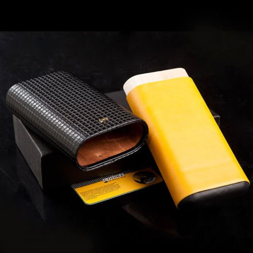 Yellow Black Leather Cedar Wood 3Ct Adjustable Cigar Cigarettes Case Holder Humidor