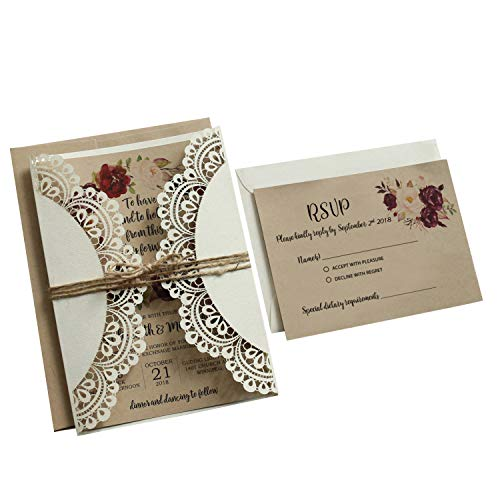 Wedding Invitations with RSVP Cards and Envelopes Rustic Invitations for Wedding by Picky Bride 2 Invitation Cards Templates for Choosing Your -