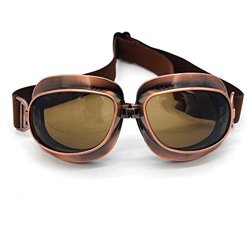 (Evomosa Motorcycle Goggles Retro Vintage Motocross Off-Road ATV Pilot Goggle Eyewear Sports Glasses Snowboard Ski Bikes Helmet Goggles (Copper, Smoke))