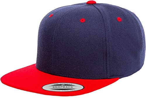 Yupoong 6089MT Classic Snapback Pro-Style Wool Cap by Flexfit Two Tone - One Size (Navy/Red)