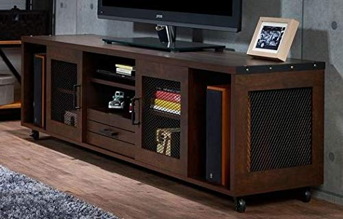 (70 Inch Tv Stand - Vintage Walnut Wood Metal Corner Accent - Display Your TV in Style)