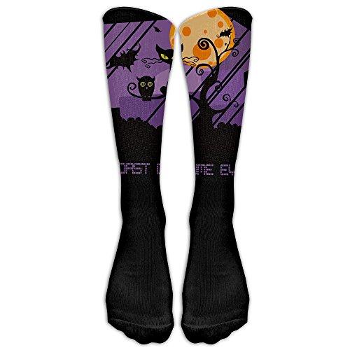 [WENTiandi Unisex Knee High Long Socks Worst Costume Ever Halloween Scared Black Cat Sport Wrist Socks] (Best Worst Costumes Ever)