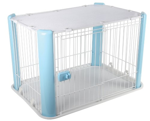 IRIS Small Wire Dog Crate with Mesh Roof, Blue