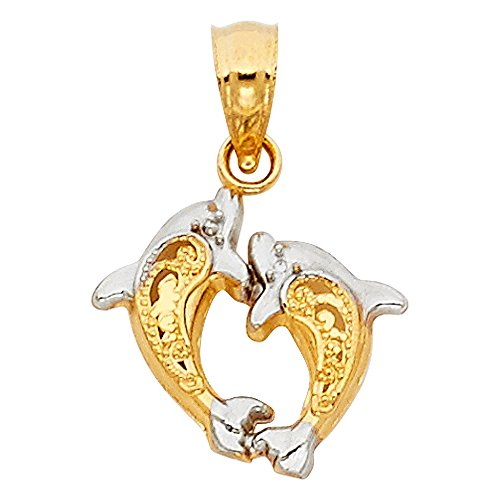 14K Two-Tone Gold Small/Mini Dolphin Charm Pendant (12mm x 14mm), with 18