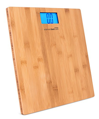 Internet's Best Bamboo Digital Body Weight Bathroom Scale | Bathroom Accessories | Real Bamboo | Eco Friendly | Wood Décor | Blue LCD Backlight | 400 lbs. Weight Capacity ()