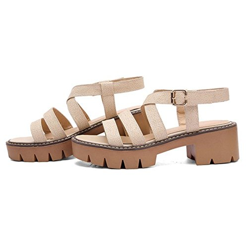RAZAMAZA Mujer Moda Punta Abierta Gladiator Plataforma Sandalias Chicas Colegio Zapatos Beige