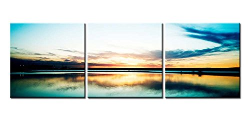 Canvas Print Wall Art Painting For Home Decor Gloden Sunrise Or Sunset Reflection With Colourful Clound Over Blue Lake 3 Pieces Panel Paintings Modern Giclee Stretched And Framed Artwork The Picture For Living Room Decoration Landscape Pictures Photo Prints On Canvas