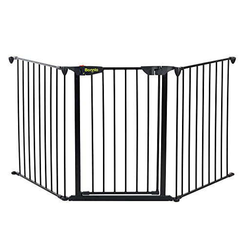 Bonnlo 73-inch Metal Fireplace Fence Adjustable 3-Panel Baby Safety Gate Play Yard for Toddler/Pet/Dog/Cat Christmas Tree Fence Wide Barrier Gate, Black -