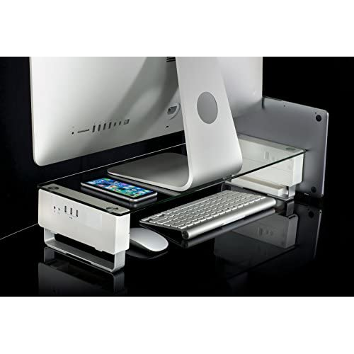 Mount-It Computer Monitor Riser With USB Clear Tempered Glass Aluminum Legs