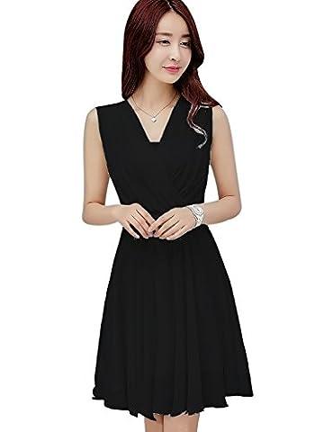 Tanming Women's Sleeveless V-Neck Knee Length Tank Chiffon Dress With Belt (Large, Black) - Hot Sexy Black Formal Dress