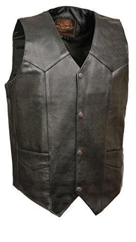 - Milwaukee Leather SH1310-BLK-46 Men's Classic Snap Front Biker Vest (Black, Size 46)