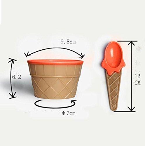 Xindda 1PC Kids ice Cream Bowls ice Cream Cup Couples Bowl Gifts Dessert Orange
