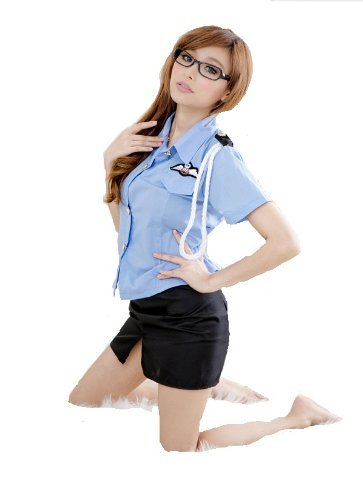 [ETHAHE Blue Policewoman Costume Cosplay Small Size] (Policewoman Costumes)
