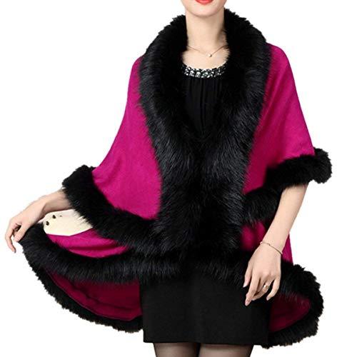 Capo Monocromo In Autunno Sintetica Scialle Cappotto Eleganti Collo Della Donna Invernali Costume Irregolare Manica Huixin Pipistrello Pelliccia Poncho Rosarot tCqHII