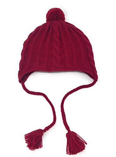 Alpaca Wool & Acrylic Knit Beanie with Braids & Pom-Pom - Winter Toboggan Hat - Unisex/Adult/Teen (Cranberry)