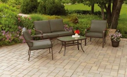 Mainstays Stanton Cushioned 4-Piece Patio Conversation Set, Seats 4 Brown Review