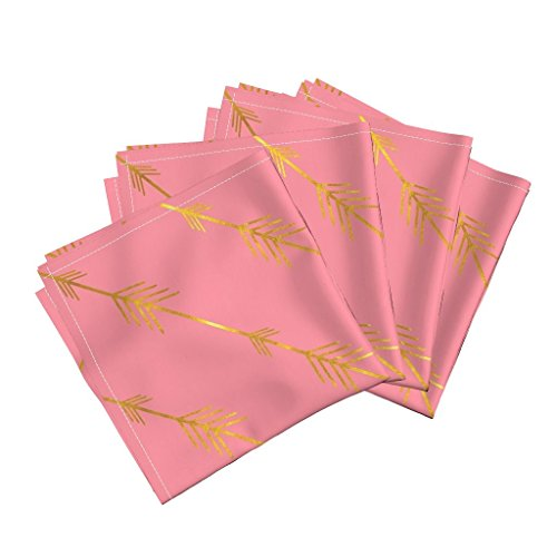 Roostery Khaki Fleur De Lis Avignon Quatrefoil Greige Linen Cotton Dinner Napkins Gold Arrows in Pink by Willowlanetextiles Set of 4 Dinner Napkins