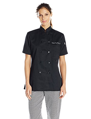 Uncommon Threads Women's Tahoe Fit Chef Coat with Custom Text, Black, X-Large by KAMAL OHAVA